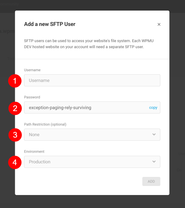 Screenshot of popup box where you can create an SFTP user