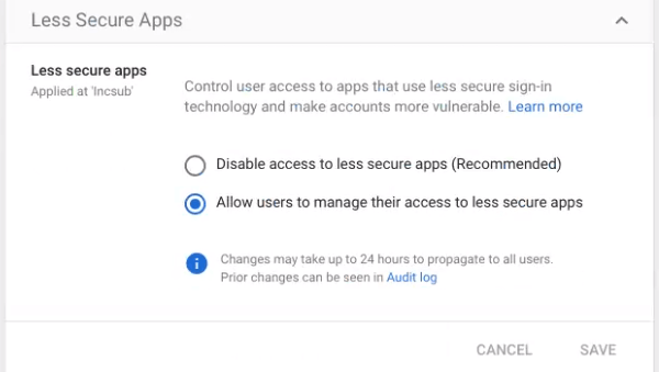 Screenshot of the option to allow unsecure apps