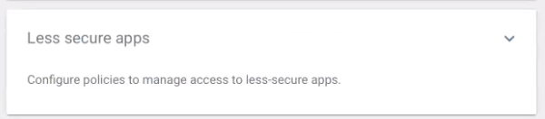 Screenshot of the link to the less-secure apps menu.