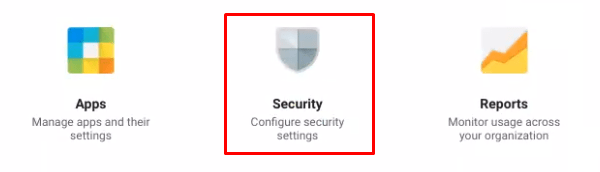 Screenshot of the Security menu icon