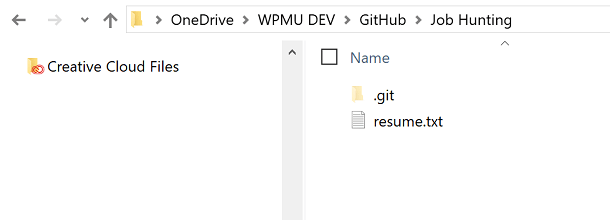 Screenshot of resume.txt file in Job Hunting Folder in file manager
