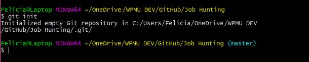 Screenshot of Git init command in Git Bash