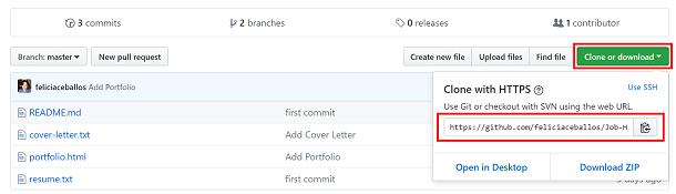 Screenshot of repo on GitHub green clone button shows URL