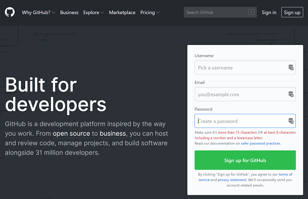 Screenshot of GitHub Home Page
