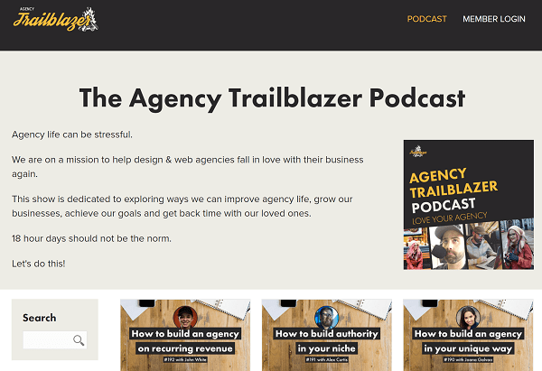 Screenshot of Home Page for Agency Trailblazer Podcast