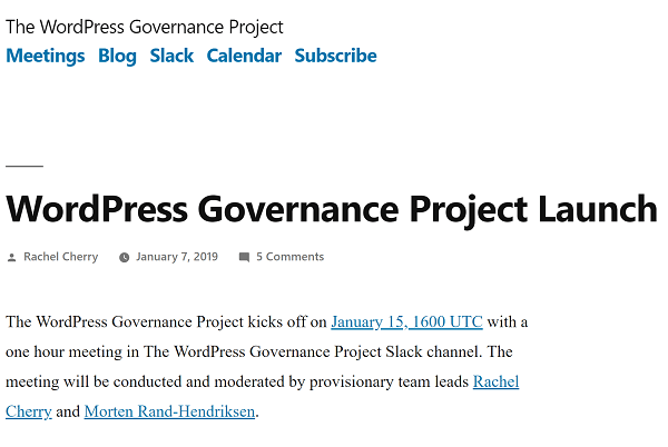 WordPress Governance Project Landing Page