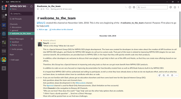 Screenshot of WPMU DEV SIG Slack Welcome Message