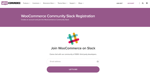 Screenshot of WooCommerce Slack Join Page