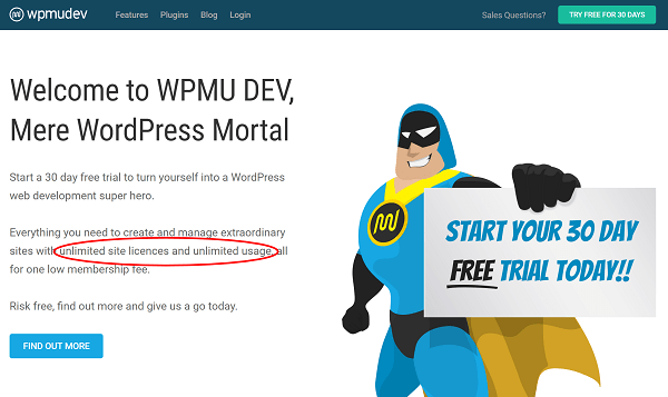 Screenshot of WPMU DEV home page, use on unlimited sites