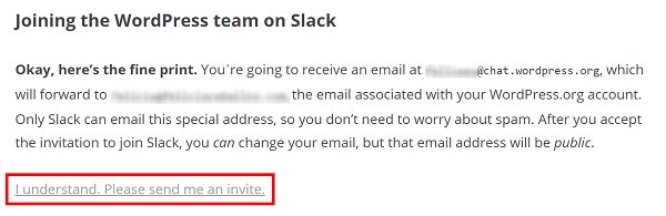 Screenshot of instructions: you will receive an email with invite to join.