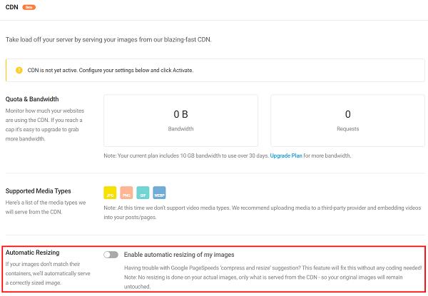 Screenshot Smush Pro resize images CDN
