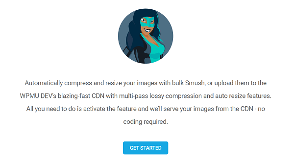 Screenshot of Smush CDN welcome screen