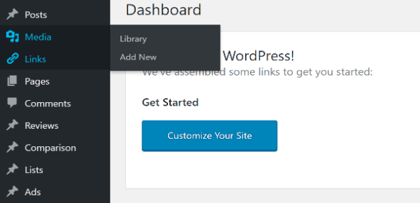 Screenshot of WordPress admin with lists, links, reviews, posts and other custom post types