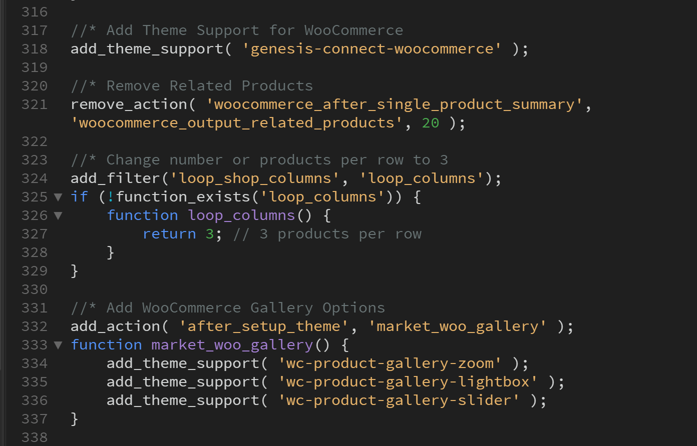 Screenshot of WordPress functions file code with Woocommerce functions