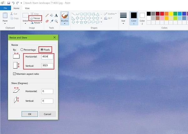 Screenshot of resizing image in Paint