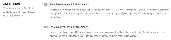 Screenshot of Smush Settings to Save Original Image