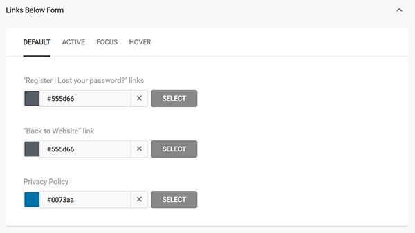 Screenshot of Branda Link Colors for Login Page