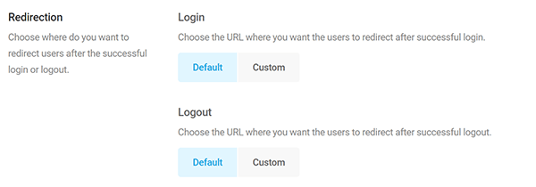 Screenshot of Branda Login Form Redirection Options