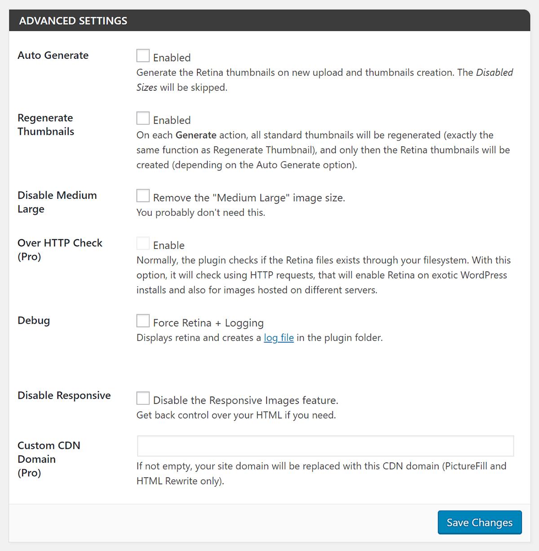 Screenshot WP Retina 2x Advanced Settings