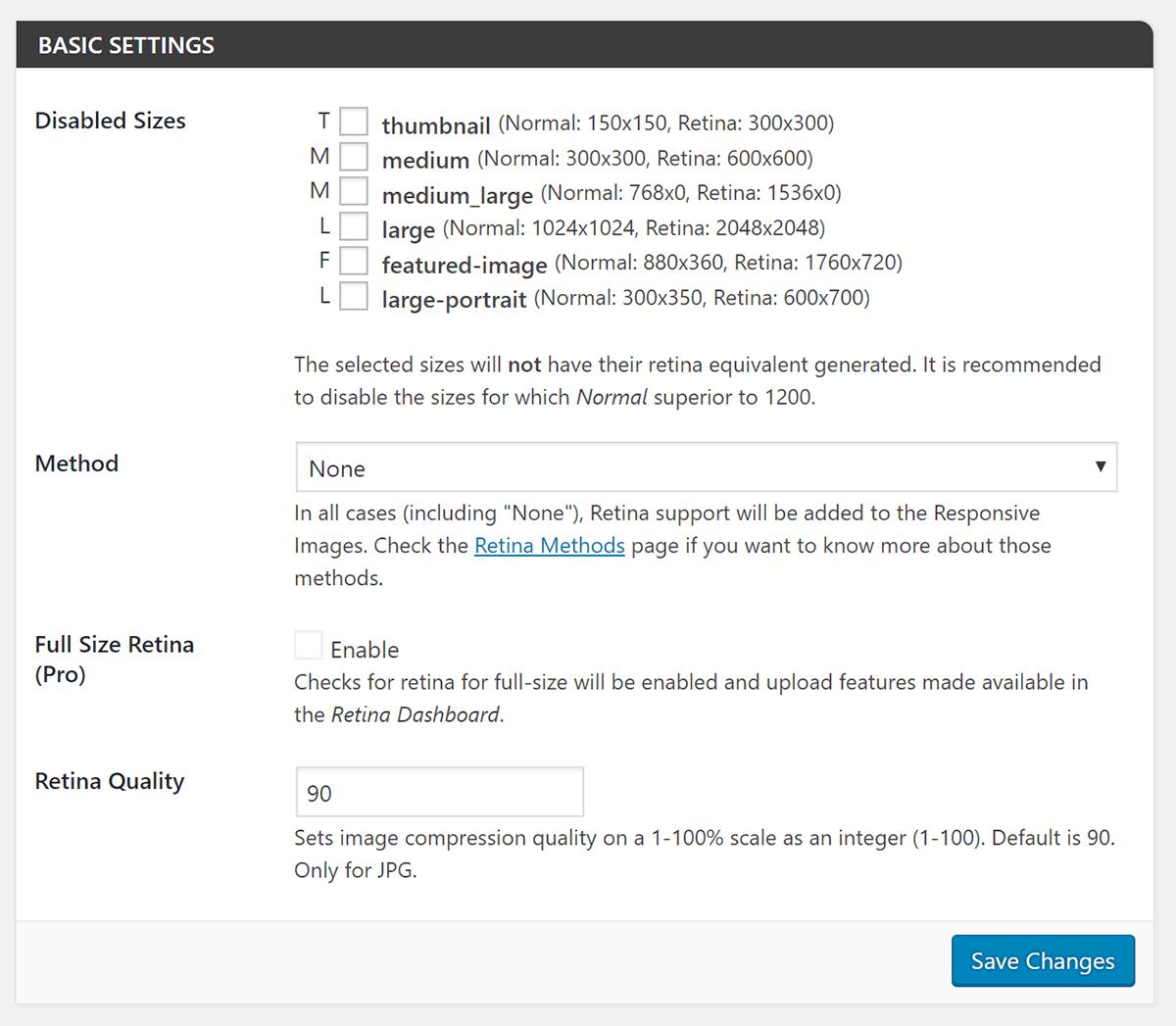 Screenshot of WP Retina 2x basic settings
