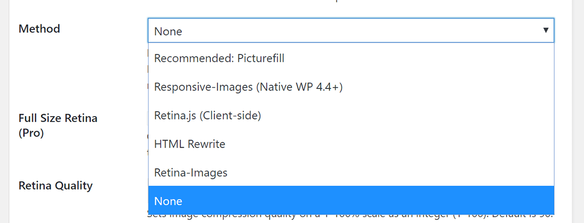 Screenshot Retina Settings Method Dropdown