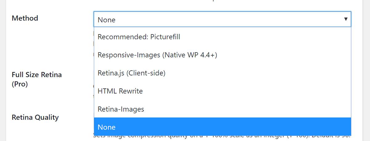 Screenshot Retina Settings Method Dropdown