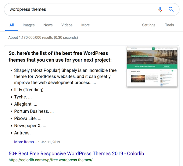 Screenshot of Google search for WordPress themes that shows rich snippet.
