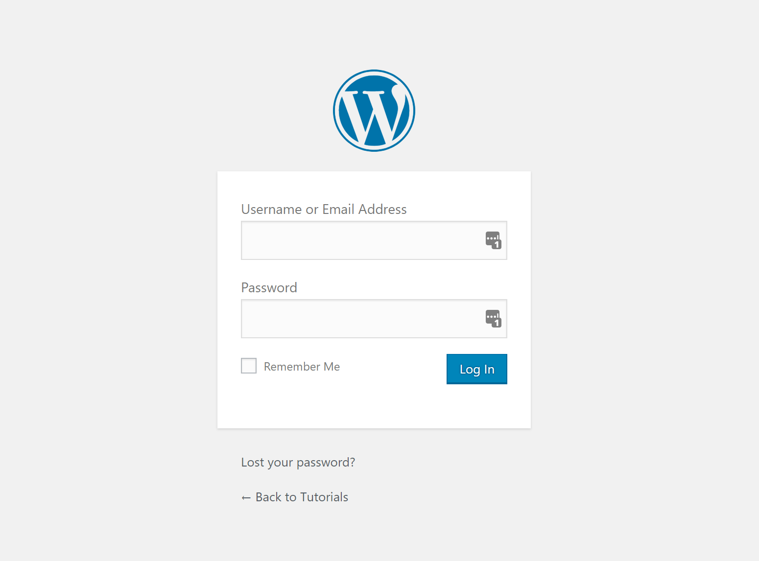Screenshot of default WordPress login page