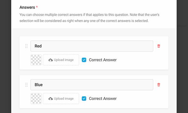 Forminator multiple correct quiz answers
