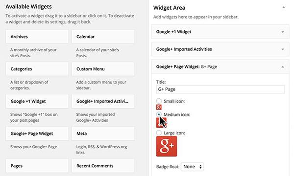 Google Plus Plugin widget integration