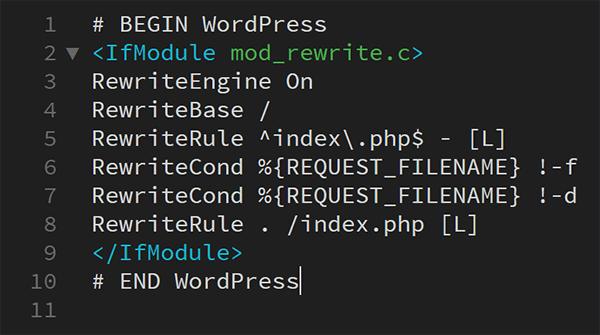 Screenshot of .htaccess file in WordPress