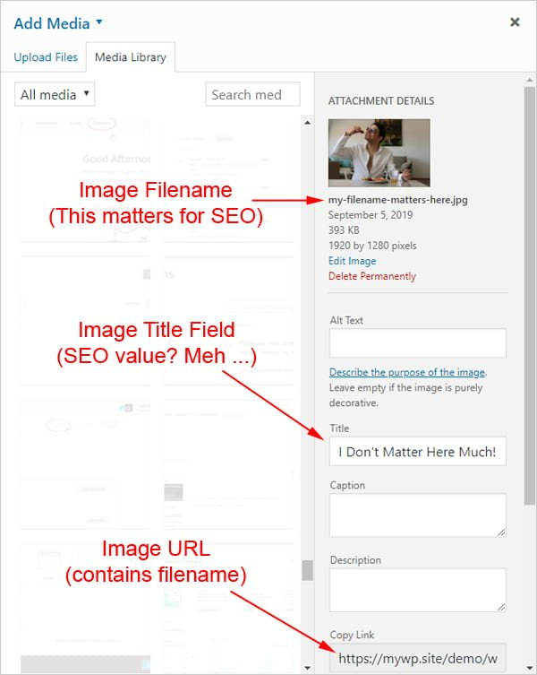 Screenshot of WordPress Media library highlighting image filename, title field, and image URL.