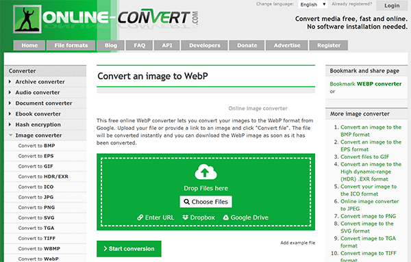 Screenshot of online webp conversion tool