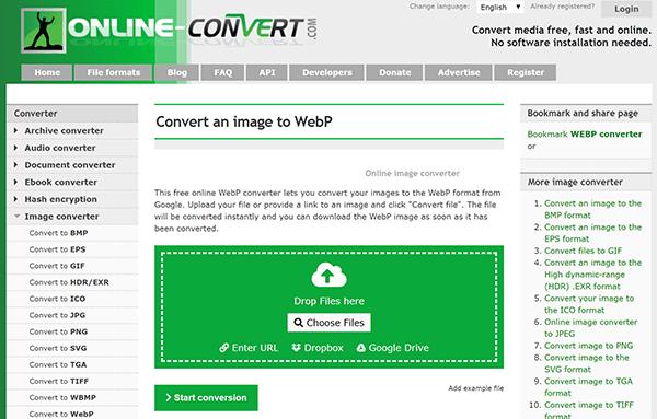 Screenshot of online webp conversion tool