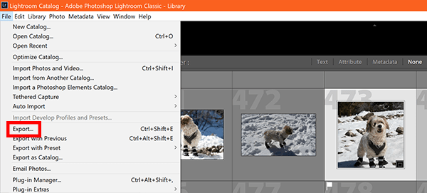 Screenshot of how to export photos from Lightroom