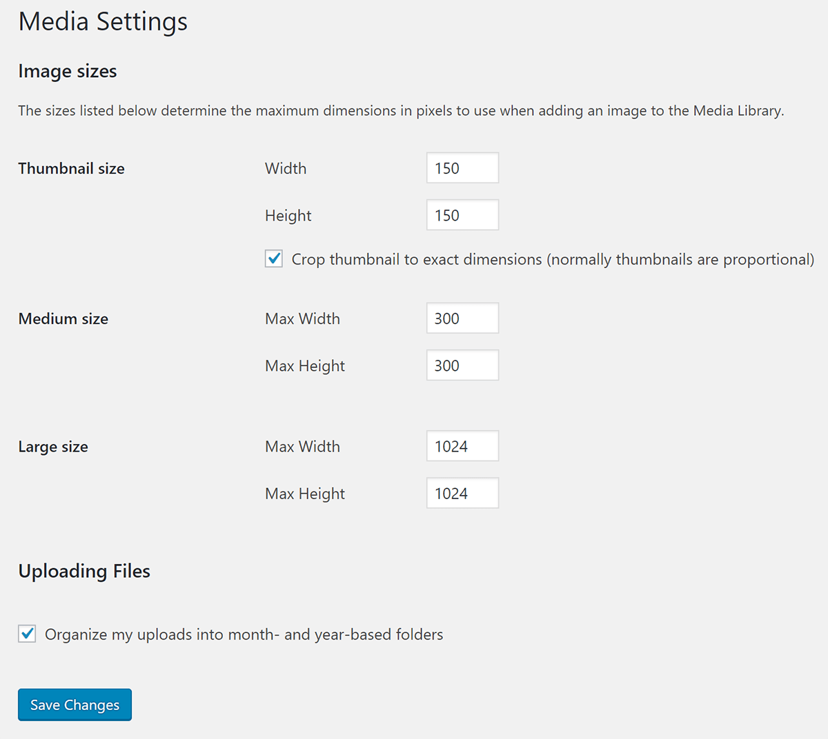 Screenshot of WordPress Media settings