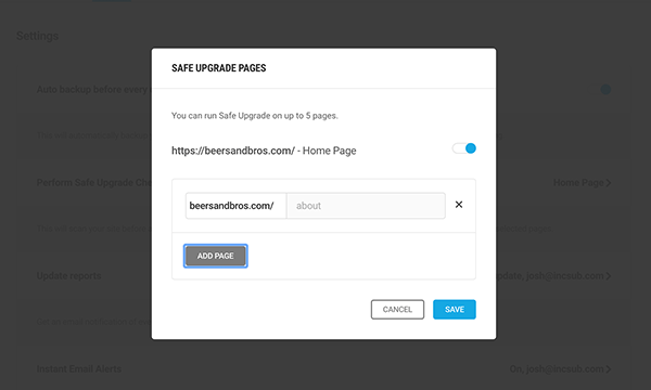 Add extra pages to check in with Automate Safe Upgrade