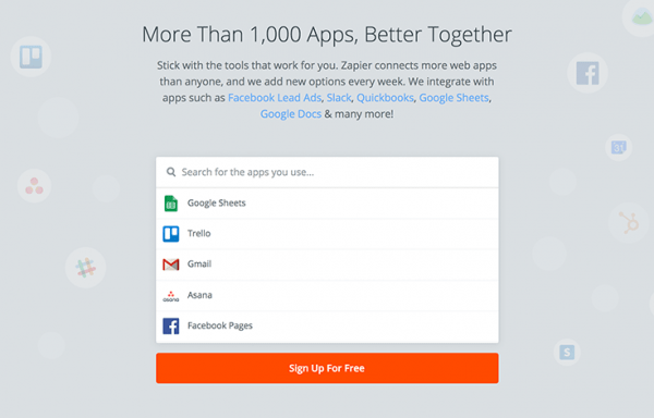 Zapier web app integrations