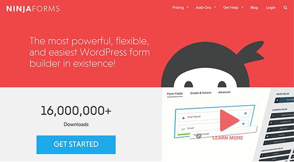 Screenshot of Ninja Forms Home Page
