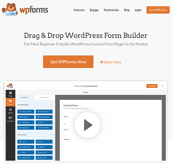 Screenshot of WPForms Home Page