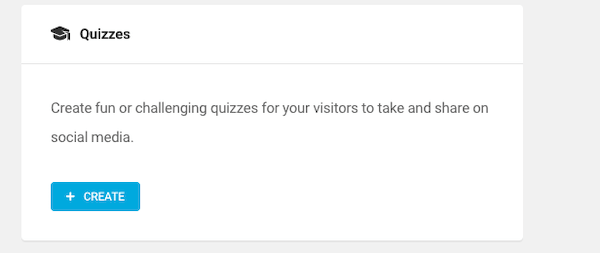 Select the create quiz button