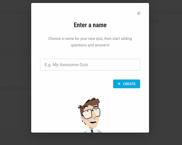 A pop up asking users to enter the name of their quiz
