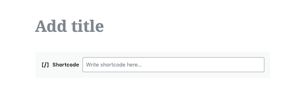 The screen you see when you want to add your short code to the web page