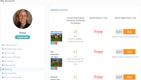 An example of how people can bid on your properties