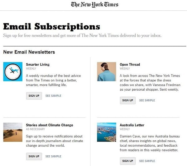 An example of The New York Times offering highly relevant content