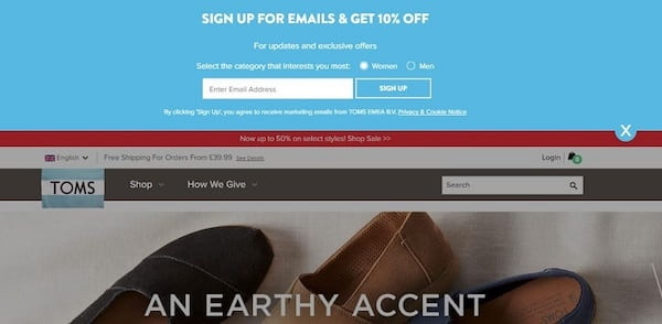 An example of TOMS offering a deal in exchange for a newsletter sign up