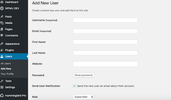 WordPress gives you various user settings
