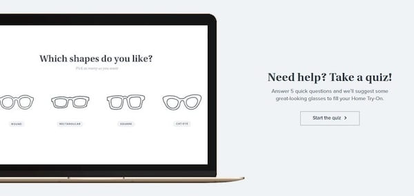 An example of Warby Parker using a quiz to drive sales