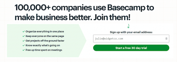 An example of Base Camp using social proof in their sign up form