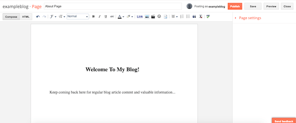 It's easy to edit your pages in Blogger